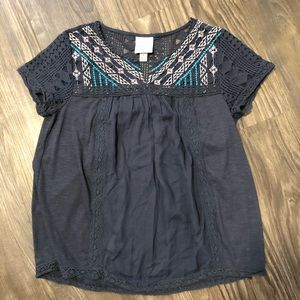 Knox Rose Blue Lace Top